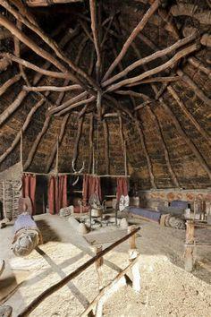 Interior of the chieftain's house. Castell Henllys, Iain Wright.