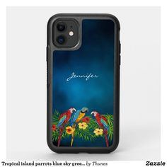 Shop Tropical island parrots blue sky green leaves OtterBox iPhone case created by Thunes. Iphone 11, Apple Iphone, Iphone Cases, Tropical Birds, Synthetic Rubber, Parrots, White Elephant Gifts, Green Leaves, Things To Come