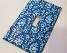 Blue and White Damask Vintage Custom Light Switch Plate Cover - Home Decor *Choose Cover Type*