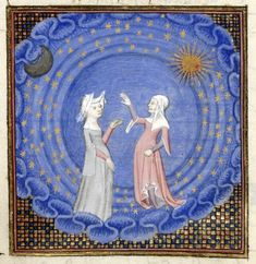 Detail of a miniature of Christine and the Sibyl standing in a sphere of the cosmos, with the moon, sun and stars surrounding them, from 'Le chemin de long estude', Harley MS 4431, f. 189v