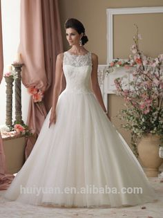 Source elegant white scoop neck lace ball gown online wedding dress on m.alibaba.com