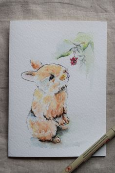 Baby Bunny with Berries Watercolor Painted by SunsetPeonies