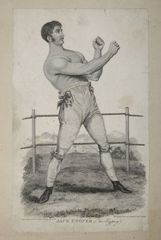 This print depicts the boxer Jack Cooper, nicknamed 'The Gypsey'. In the past Gypsies and Travellers did much of their trading at rural town...