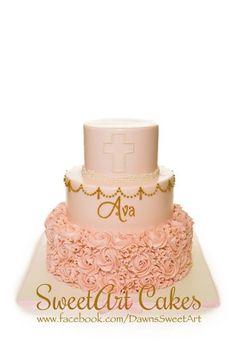 Christening cake, girl christening cake, rosette cake