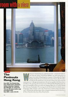 "25 Years of ""Room with a View"" Photos : Condé Nast Traveler::  ROOM 2007  HONG KONG, CHINA  July 1997"