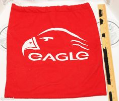 EAGLE HOCKEY GOALIE OR PLAYER HELMET TRAVEL RED 17.5x18 POLYESTER BAG USED 1990s #Eagle