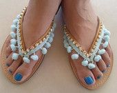 Items similar to Leather Summer Sandals - Pom Pom Sandals - Summer Shoes - Beachwear Sandals - Pom pom Flip Flops - Greek Leather Sandals on Etsy Pom Pom Sandals, Cute Sandals, Cute Shoes, Women's Shoes Sandals, Leather Sandals, Summer Sandals, Bridal Flip Flops, Beaded Shoes, Beautiful Sandals
