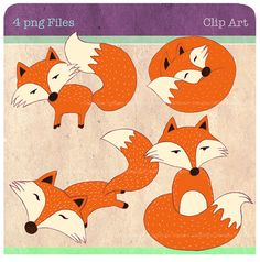 Fox Clip art digital file personal and commercial use great for card making, digital scrapbooking, invitations and paper products on Etsy, $3.50