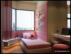 Pink Bed Sheet With White Bed Frame And Futuristic Desk Furniture With Pink Bean Bag In Cute Kids Room