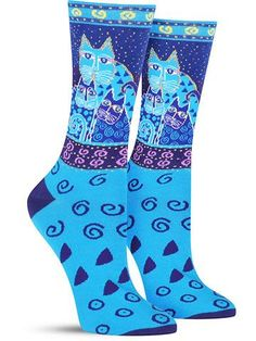 Roses are red, These socks are blue. They're littered with cats,Just like you! Don't feel blue. Slip on these fun Laurel Burch socks. Silly Socks, Funny Socks, Cute Socks, First Grade Art, Unique Socks, Fashion Socks, Women's Fashion, Unique Cats, Sock Animals