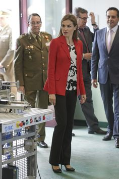 Queen Letizia of Spain and the Chief of Spain's Army Defence Staff, General Jaime Dominguez visited the Artillery Academy in Segovia, Spain on on April 13, 2015.