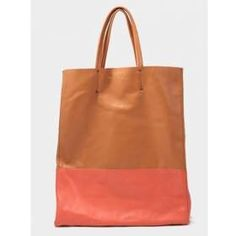 Celine brown and red two-tone leather Tote bag