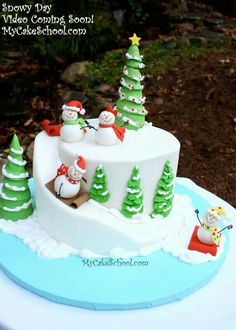Sledding Snowman!- A Carved Cake Video Tutorial                                                                                                                                                                                 Mais
