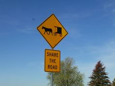 Share the road....you see this all through the Ozarks where there are Amish communities