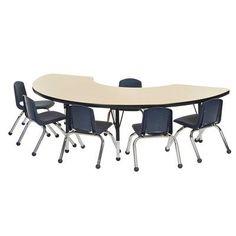 "ECR4Kids 7 Piece Kidney Activity Table  & 10"" Chair Set"