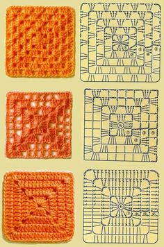 granny square inspiration plus charts for making them