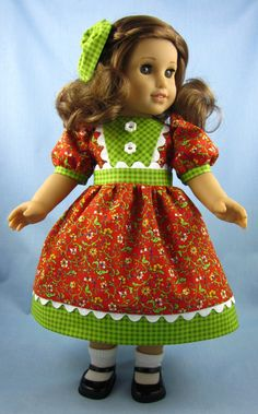 American Girl Doll Clothes  - Dress and Hair Bow in Rust Floral and Green Gingham. $24.00, via Etsy.