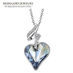 Neoglory pedrería de cristal austriaco de cuatro colores cadena del amor del corazón collares y colgantes para las mujeres 2017 de regalo de la india joyería js4 he1