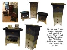 Ombre painted furniture set.  Annie Sloan Chalk Paint shaded from Graphite to Old White
