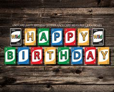 UNO Card HAPPY BIRTHDAY Banner File is ready to download  Set up on an 8.5x11 letter size page. Simply print at home, or take to your local print shop (Kinkos, Office Max, etc) and have them print on a nice card stock for you.