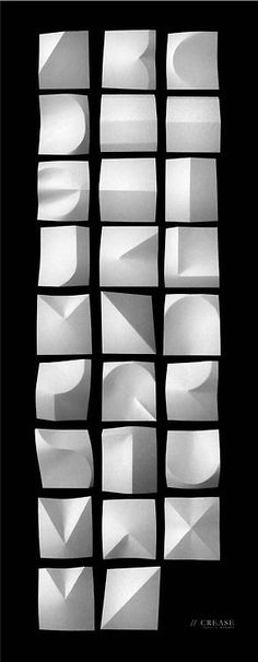 Crease Paper folding type experiment - creating an alphabet by folding squares of paper and using shadow Typography Letters, Typography Prints, Graphic Design Typography, Hand Lettering, Type Design, Design Art, Logo Design, Typographie Fonts, Schrift Design