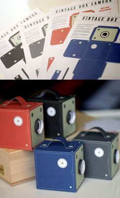 Paper Vintage Cameras (great as party favor/gift boxes)~Images via girliepains (Etsy)