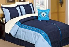 Dovedote Embroidery Flowers Comforter Set Including White Sheet Queen Navy Blue 8 Piece ** Check this awesome product by going to the link at the image.