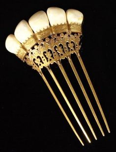 English Etched Gold-Filled Victorian Hair Ornament, late 19th century, forming a crown of mounted elk's teeth, with inscribed name on back.