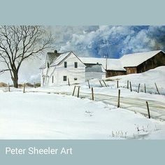 """64 Likes, 4 Comments - Peter Sheeler (@sheelerart) on Instagram: """"Yes. I do paint larger pictures. Farmhouse Rural landscape. 24""""x30"""" Watercolor on Canvas.…"""""""