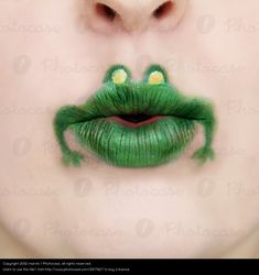 Buy this Royalty Free Stock Photo on Human being Green Animal Face Funny Skin Mouth Lips for your Website, Book Cover, Flyer, Article, Blog or Template.