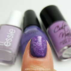 #31DC2013 Day 06: Violet Nails - base coat of @essie Nice is Nice (LOVE), then used Sinful Colors Amethyst on top using the saran wrap technique.