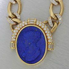 Vintage Estate Diamond 18k Solid Gold Lapis Lazuli Cameo Pendant Necklace 154.2g
