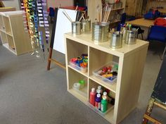 New classroom! Creative art area, where children can self select their resources… Classroom Layout, Classroom Organisation, Classroom Setting, Preschool Classroom, Kindergarten, Classroom Ideas, Play Based Learning, Home Learning, Learning Spaces