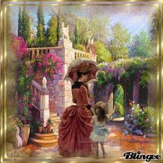 mother and doughter Victorian Pictures, Glitter Graphics, New Pictures, Photo Editor, Animation, Painting, Vintage, Design, Art