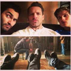 Tyler Hoechlin, Ian Bohen, and Daniel Sharman on the set of Teen Wolf!