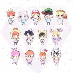 Minghao and Dokyeom are so cute Fanart Kpop, Seventeen Woozi, Seventeen Memes, Astro Wallpaper, Seventeen Wallpapers, Art Folder, Cute Chibi, Aesthetic Stickers, Wattpad