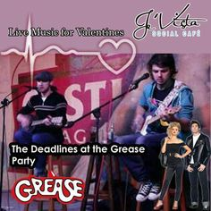 """Almost time to dress up, GREASE up and join Je'Vista Social Café Jeffrey's Bay for a trip back to the Live music this Friday is """"The Deadlines"""" and remember we have that great menu just waiting to take you back in time. Grease Party, Back In Time, Live Music, Party Themes, Waiting, Join, Menu, Friday, Valentines"""
