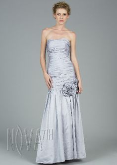 A-line off shoulder ankle length prom dress with pearl and sequins detailing