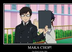 Blue Exorcist and soul eater Maka chop! Ao No Exorcist, Blue Exorcist Funny, Blue Exorcist Anime, Rin Okumura, Anime Crossover, The Garden Of Words, Kawaii, Another Anime, Blue Flames