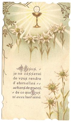 Antique French Holy Prayer Card Communion by 12StarsVintage