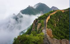The green hill were enveloped in cloud and mist in Beijing China tour.