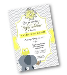 Yellow and gray Chevron Girl or boy gender nuetral Baby Shower Invite Owl and Elephant Printable 4x6  Invitation Instant Download Printable on Etsy, $13.18 AUD