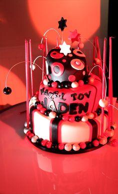 Fun pink bat mitzvah cake!