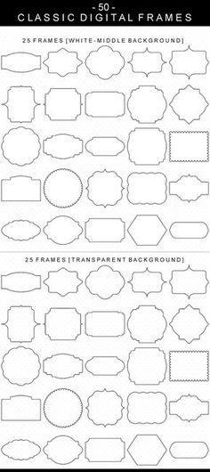 50 Classic Digital Frames, Borders Clip Art, Digital Clipart, Digital Download, Clipart Frame, Frames Clipart, Digital Labels, Basic Frames