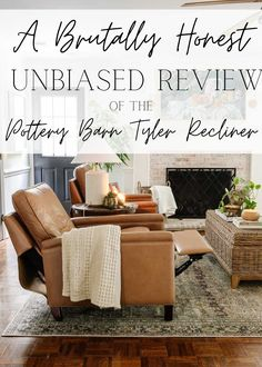 A brutally honest, unbiased review of the Tyler Pottery Barn Recliner, its pros/cons to consider, if it's worth the money, and why it's not for everyone. Pottery Barn Recliner, Home Furniture, Outdoor Furniture Sets, Outdoor Decor, Ikea Stocksund, Modern Recliner, Blogger Home, Framed Tv, Brutally Honest
