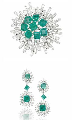 A SUITE OF EMERALD AND DIAMOND JEWELLERY, MOUNTED BY CARTIER   Comprising a brooch with square cut-cornered emerald cluster centre within a radiating baguette-cut diamond surround; together with a pair of ear pendants of similar design, the emerald and diamond cluster tops, suspending a single emerald spacer to a larger cluster drop below, circa 1950, 6.0cm and 5.9cm long respectively, ear pendant drops detachable and with further clip fittings  Brooch signed Mtd. Cartier