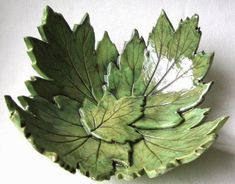 Lime Green Hydrangea Leaf Bowl In Stock Clay Projects, Clay Crafts, Pottery Handbuilding, Cement Art, Leaf Bowls, Hand Built Pottery, Concrete Crafts, Ceramic Flowers, Pottery Designs