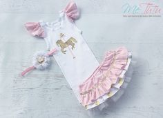 Vintage Shabby Chic Carousel Horse Pink, Gold and White 3 Piece Nappy Cover Singlet Tank Top Headband Baby Girl Set First Birthday Party by MeTutu on Etsy https://www.etsy.com/listing/192260961/vintage-shabby-chic-carousel-horse-pink