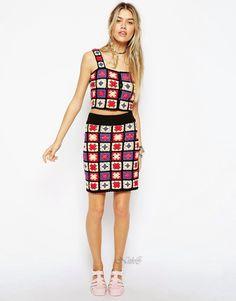 Crochetemoda: Crochet - Top e Saia - Cute granny squares crochet skirt and top (1/3) (hva)