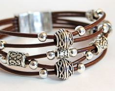 "The ""Bohemian"" Beaded Leather Bracelet or Anklet 